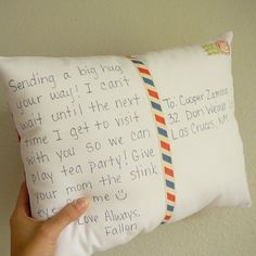 Postcard Pillow... oh yes.  I will be making these.