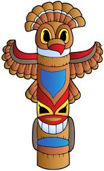 Totem pole, the emblem of the tribe Game