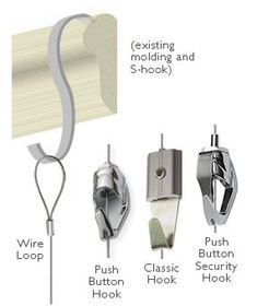 """Picture hanging system Hooks, Push Button for Cable systems only - 10 pack$77.00  Looped cable (For use with your own picture rail and """"S"""" hooks) 2 meter (6.5ft) length - 10 pack$51.50 3 meter (9.8ft) length - 10 pack$62.00"""