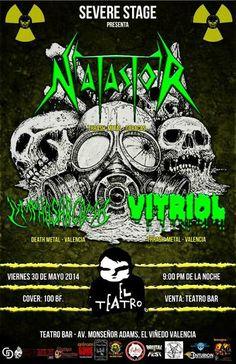 """Cresta Metálica Producciones » Severe Stage & El Teatro Bar Valencia presentan: """"Natastor – Lymphosarcoma – Vitriol """" // 30-05-2014"""