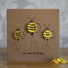 Love the button idea! Hap-bee Birthday Bee Button Birthday Cards by IzzyWizzyCrafts Handmade Birthday Cards, Happy Birthday Cards, Card Ideas Birthday, 13 Birthday, Birthday Gifts, Bee Cards, Cards Diy, Button Cards, Button Button