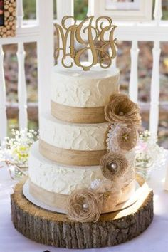 Rustic Wedding Cake with Burlap and Buttercream Rosettes, by Amy ...