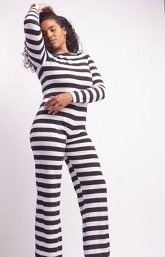 Black & White Striped Wide Leg Jumpsuit