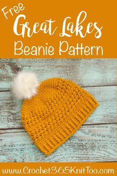 Love this crochet Great Lakes Beanie pattern! The texture is amazing! #crochetbeanie #crochethat #crochetgreatlakesbeanie #greatlakesbeanie Crochet 101, Crochet Basics, Crochet For Beginners, Crochet Gifts, Crochet Hooks, Crochet Headbands, Beginner Crochet, Crochet Things, Crochet Baby