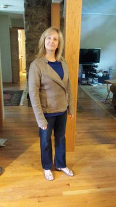 Stitch Fix #1 review & giveaway - The jacket just didn't look right on me. And, though you really can't tell from this picture, the jeans were a little too short.
