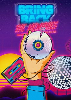 Bring back the memories by AkramWilliam #80s #vector #type #typography #disco #vector #retro #old #cassette #hand #cd #space #design #art #poster