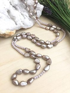 xxx Bold Fashion Jewellery Taupe and Grey Cord Necklace with Worn Metallic C...