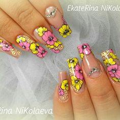 Nails Gel Nail Art, Nail Manicure, Acrylic Nails, Long Nail Art, Long Nails, Flower Nail Designs, Nail Art Designs, Fancy Nails, Cute Nails