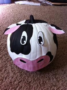 Cute Cow pumpkin Halloween decoration Holstein