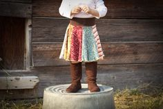 Autumn Hippie Twirly Skirt Upcycled Recycled T-shirt Toddler Clothing From Twinkle Size 2 3 4 - Click for More...