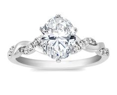 Oval Diamond Petite twisted pave band Engagement Ring  - ES873OVWG