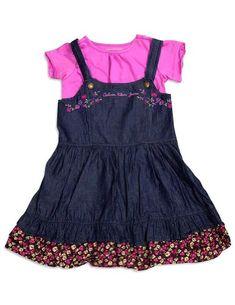 af81b2659c7 Amazon.com: Calvin Klein - Little Girls' 2 Pc Jean Dress Set, Denim Blue,  Purple 31985-6X: Playwear Dresses: Clothing