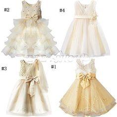 Fille Bébé Princesse Robe Tenue soirée MARIAGE CEREMONIE BAPTEME 12M-10A BEIGE in Vêtements, accessoires | eBay