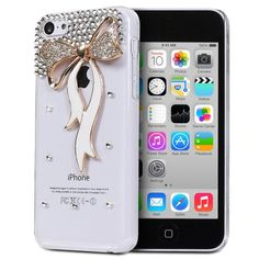 Fosmon GEM Series 3D Bling Design Case for Apple iPhone 5C (Clear Case / Gold and White Ribbon) Fosmon Technology