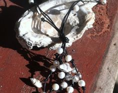 Sea Glass and Pearl with toes Disk Necklace by CoastalCreations98