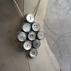 NECKLACE sterling silver with vintage button by quenchmetalworks, $490.00
