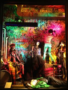 "seanslaney:        Created a Downtown Punk Rock Club/Dive Bar, graffiti mural with Daniel Caspera and Space for Bergdorf Goodman ""Punk"" windows.  Punk and Bergdorf Goodmans?  Too funny!"