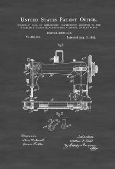 Sewing Machine Patent - Sewing Room Decor, Craft Room Decor, Tailor Decor, Vintage Sewing Machine, Sewing Machine Blueprint