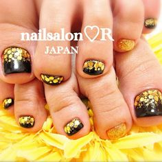 Pedicure- black with gold glitter, love this!
