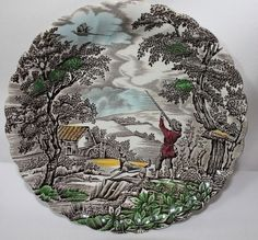 Vintage Myott The Hunter Multicolor hand-decorated salad or side plate. Made in England.