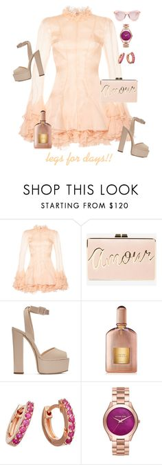 """blushing beauty"" by queenchelleisboomkoo ❤ liked on Polyvore featuring Francesco Scognamiglio, BCBGMAXAZRIA, Giuseppe Zanotti, Tom Ford, Astley Clarke, Michael Kors and Karen Walker"