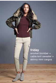 Gap Women's Snorkel Bomber Jacket, Cable Knit Sweater & Skinny Mini Cargos