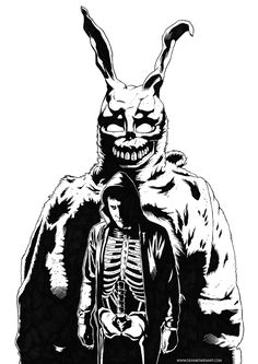 Inked on Canson paper. Coloured in Photoshop. Donnie Darko Rabbit, Donnie Darko Tattoo, Horror Art, Atheist, Movies Showing, Drawing Reference, Small Tattoos, Art Boards, Tatting