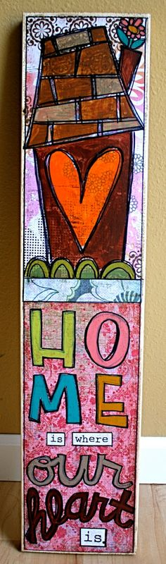 Home is Where our Heart Is mixed media art by paperprayers on Etsy, $45.00