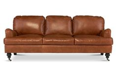 """Percy 84"""" Leather Sofa, Umber"""