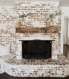 6 Stunning Useful Ideas: Fireplace And Tv Wire farmhouse fireplace design.Concrete Fireplace And Tv fixer upper fireplace doors.Wood And Slate Fireplace. Rustic Fireplaces, Farmhouse Fireplace, Rustic Farmhouse, Farmhouse Style, Fireplace Whitewash, White Wash Brick Fireplace, Fake Fireplace, Fireplace Outdoor, Fireplace Mirror