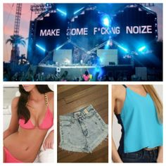 Two Cute Boutique : Ultra Outfit : Hot Pink Gold Chain Bikini . High Waisted Jean Shorts . Multi Blue Tank Top .