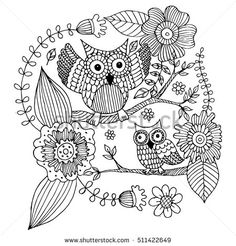 Owls with Flower and Butterfly Doodle Vector. Coloring page with doodle owl vector.