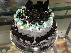 Simple cake with whipped cream frosting..