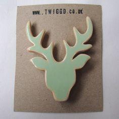 Handmade wooden brooch