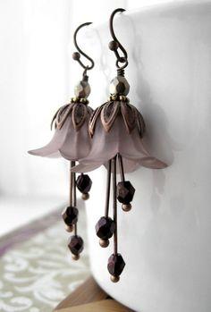 Midnight Rose Lucite Flower Earrings