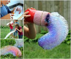 DIY Rainbow Bubble Snakes tutorial for Kids Outdoor Fun #crafts, #outdoor, #kids, #activity, #bubbles