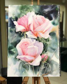 На данном изображении может находиться: цветок и растение Watercolor Rose, Watercolor Artists, Watercolor Paintings, Beautiful Flowers Wallpapers, Beautiful Artwork, Flower Wallpaper, Nature Wallpaper, Happy Art, Leaf Art