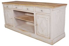 I would use this great piece in the dining room as a sideboard...great looking and so functional. Sold as a kitchen counter, for an unfitted kitchen it would also be great.
