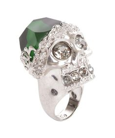 Silver Emerald Stone Skull Cocktail Ring