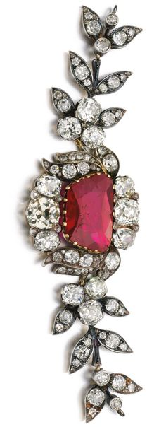 Fine ruby and diamond fragment of a jewel, assembled in 1921.