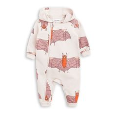 3e93153a737 Mini Rodini light grey hooded onesie in organic cotton with printed bats.  The onesie has