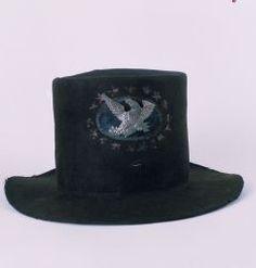 Black beaver civilian hat decorated for militia use. Probable DateHat is circa 1820; decorations are circa 1830