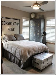 Boys Room Design Board  -- I have these things already -- locker bins, old traffic signs, an old trunk -- hmmm...Already thinking of Q's room