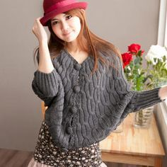 Batwing-Sleeve Cable-Knit Cardigan