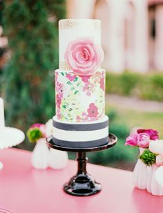 painted floral cake