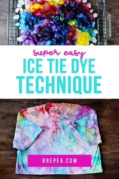 This tie dye technique is a super easy pattern and uses ice to create a galaxy effect. A fun idea for a summer kids craft! how to tie dye Ice Tie Dye, Tie Dye Kit, How To Tie Dye, Tie And Dye, Tie Dye With Bleach, Patterns Background, Fun Christmas, Tie Dye Folding Techniques, Tie Dying Techniques