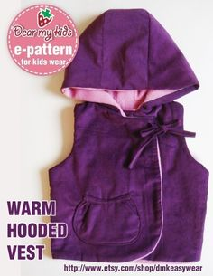Warm Hoodie Vest PDF Patterns ((12 months upto age 6))...i would alter for the boys of course...