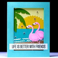 Flamingo Friends - Scrapbook.com - Perfect die cutting and stamping combine to make this adorable scene and fabulous card.