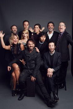 Kaley Cuoco, Johnny Galecki, Melissa Rauch, Kunal Nayyapose, Simon Helberg (back L-R) Steven Molaro, Jim Parsons, Mayim Bialik, Chuck Lorre and Bill Prady of 'The Big Bang Theory' pose for a portrait...