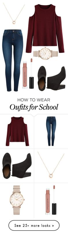 """School Days"" by em-34 on Polyvore featuring Pieces, WithChic, Bulgari, Anastasia Beverly Hills and ROSEFIELD"